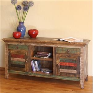 International Furniture Direct 900 Antique Multicolor Console with 2 Doors