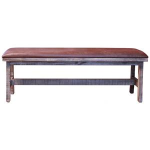 Rustic Breakfast Bench with Bonded Leather Seat