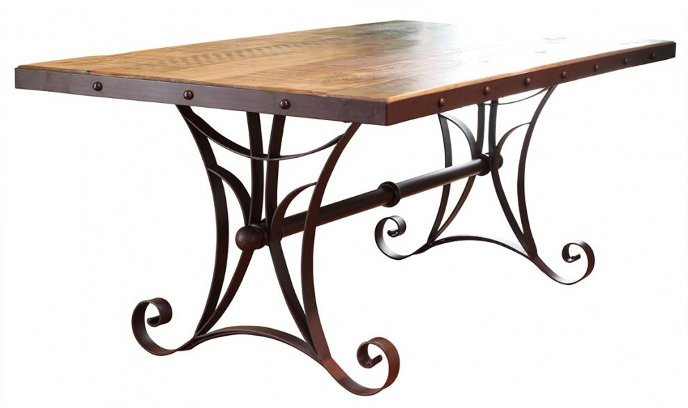 900 Antique Dining Table with Metal Base by International Furniture Direct at Gill Brothers Furniture