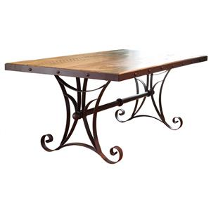 International Furniture Direct 900 Antique Dining Table with Metal Base