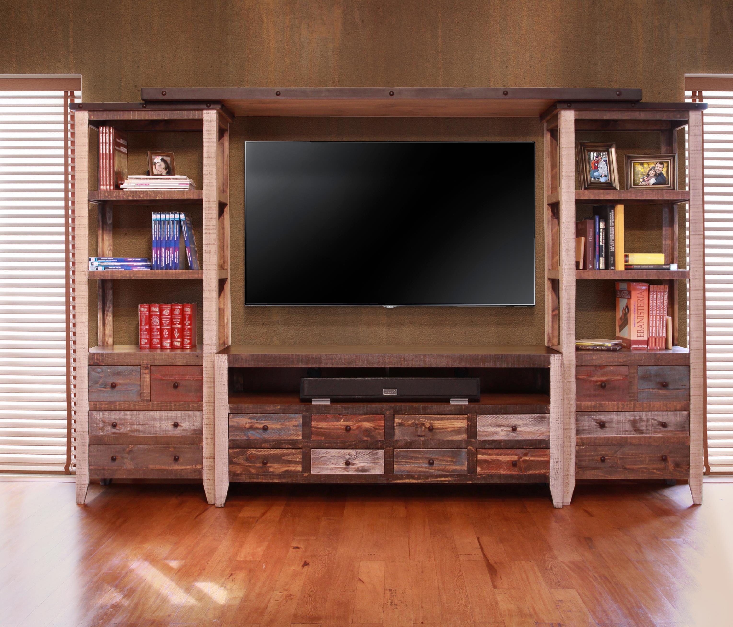 900 Antique Wall Unit by International Furniture Direct at Goffena Furniture & Mattress Center