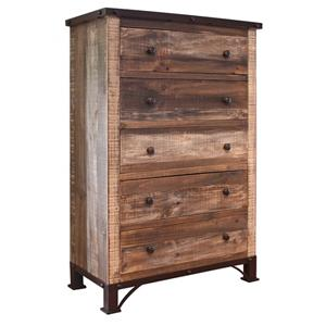 International Furniture Direct 900 Antique 5 Drawer Chest