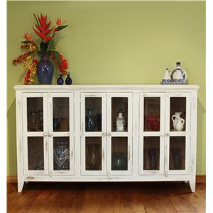 International Furniture Direct 900 Antique Console with 6 Doors