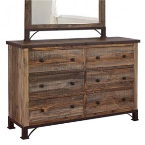 International Furniture Direct 900 Antique 6 Drawer Dresser