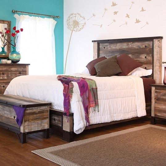 900 Antique King Platform Bed by International Furniture Direct at Goffena Furniture & Mattress Center
