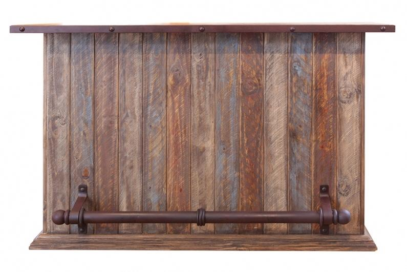 900 Antique Multicolor Bar with Iron Footrest by International Furniture Direct at Westrich Furniture & Appliances