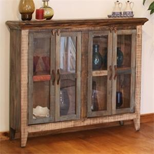 International Furniture Direct 900 Antique Multicolor Console with 4 Glass Doors