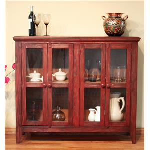 International Furniture Direct 900 Antique Console with 4 Doors