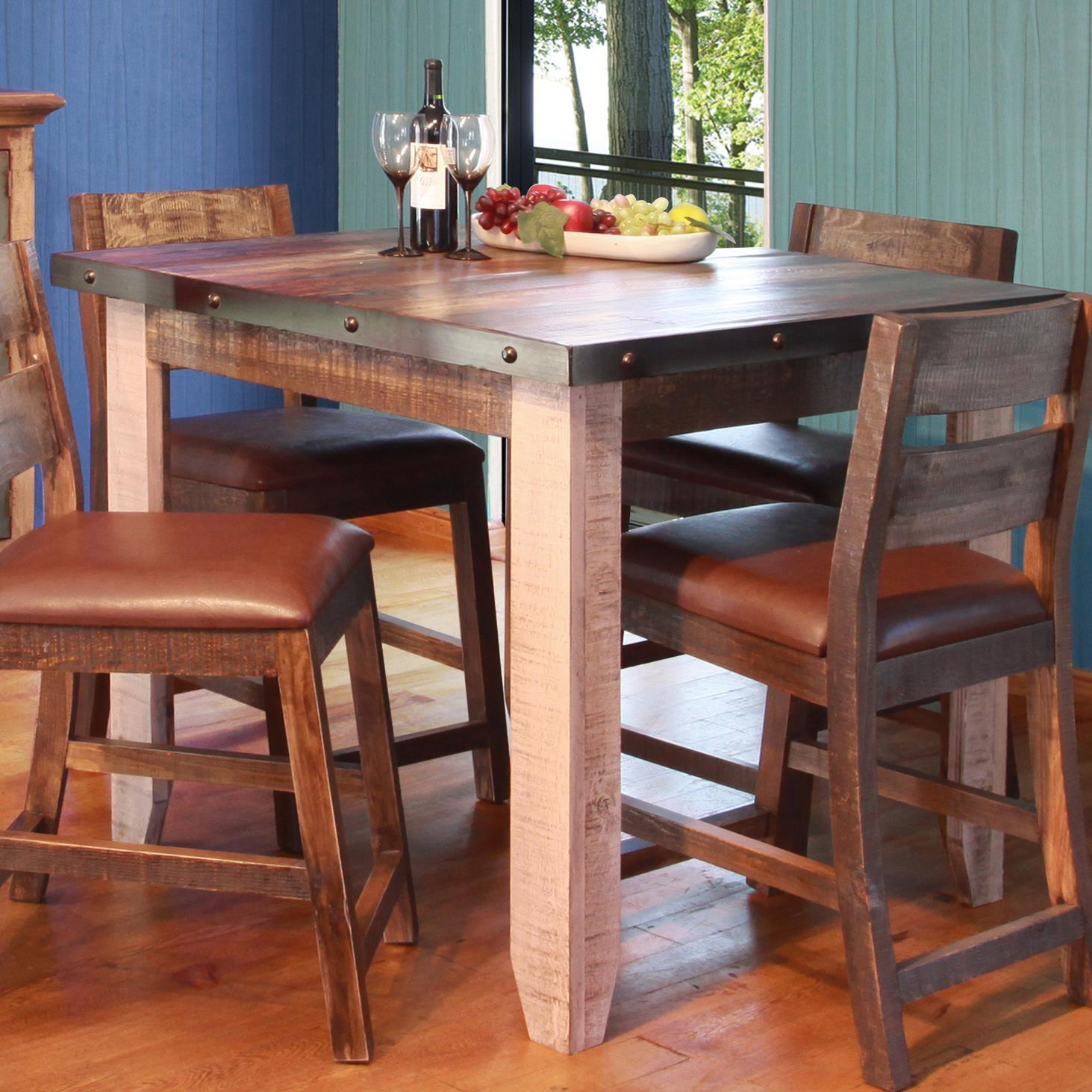 """900 Antique 42"""" Counter Height Dining Table by IFD International Furniture Direct at Suburban Furniture"""