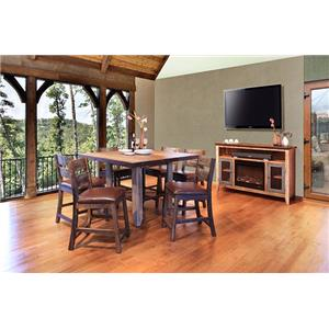 Rustic Gathering Table & 4 Counter Chairs