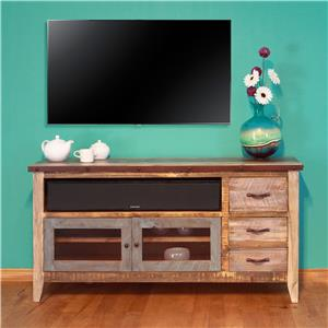 "International Furniture Direct 900 Antique Solid Pine 62"" TV Stand"