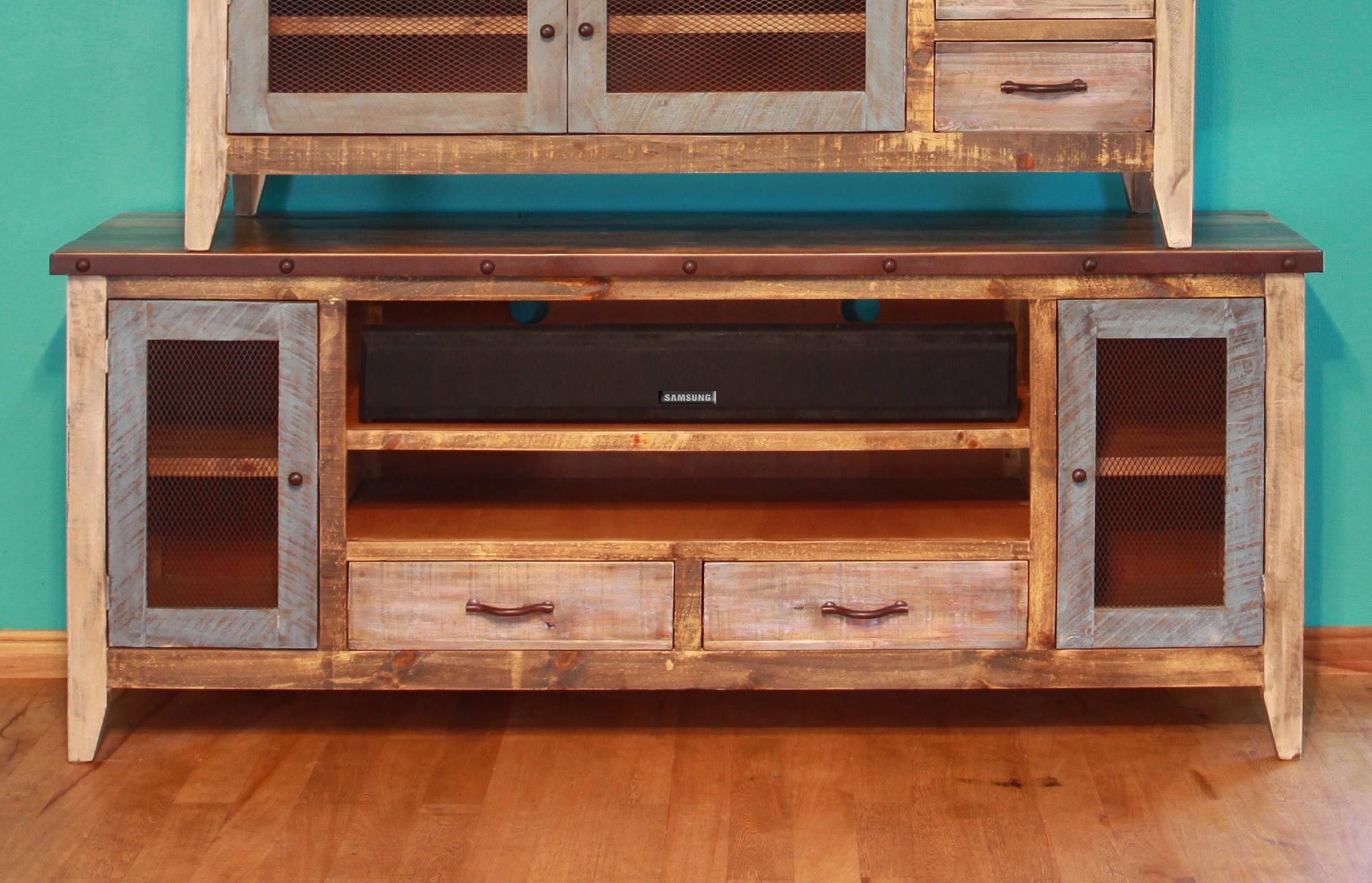 """900 Antique Solid Pine 76"""" TV Stand by International Furniture Direct at Catalog Outlet"""
