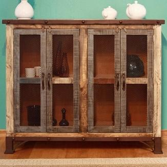 900 Antique Multicolor Console with 4 Iron Mesh Doors by International Furniture Direct at Michael Alan Furniture & Design