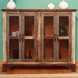 International Furniture Direct 900 Antique Multicolor Console with 4 Iron Mesh Doors