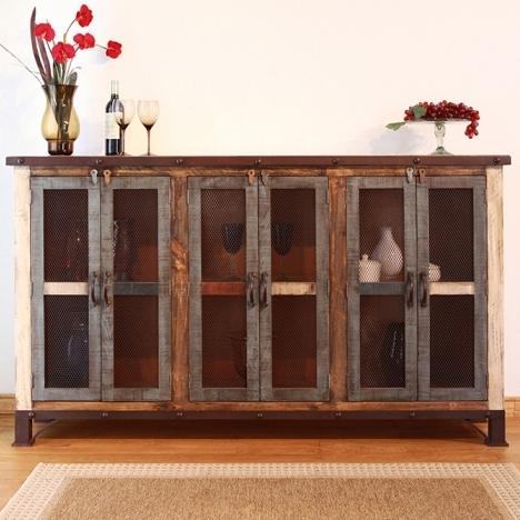 900 Antique Multicolor Console with 6 Iron Mesh Doors by IFD International Furniture Direct at Suburban Furniture