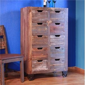 10 Drawer Console with Multicolor Finish