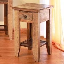 Chair Side Table w/ 1 Drawer & Iron Mesh Shelf