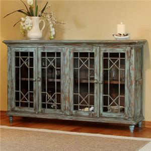 Serving Table w/ 4 Doors and Distressed Finish