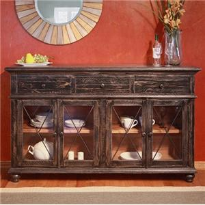 International Furniture Direct Vintage Console with 4 Glass Doors