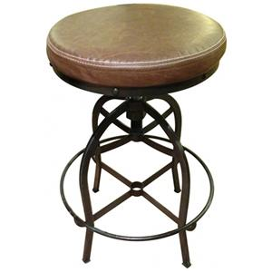 Swivel Bar Stool w/ Bonded Leather Seat