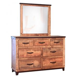 Rustic Style 7 Drawer Dresser and Mirror Set