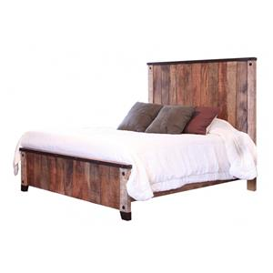Rustic Style Queen Bed with Iron Details