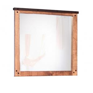 Mirror with Wood Frame and Nail Head Details