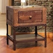 International Furniture Direct Urban Gold End Table with 1 Drawer