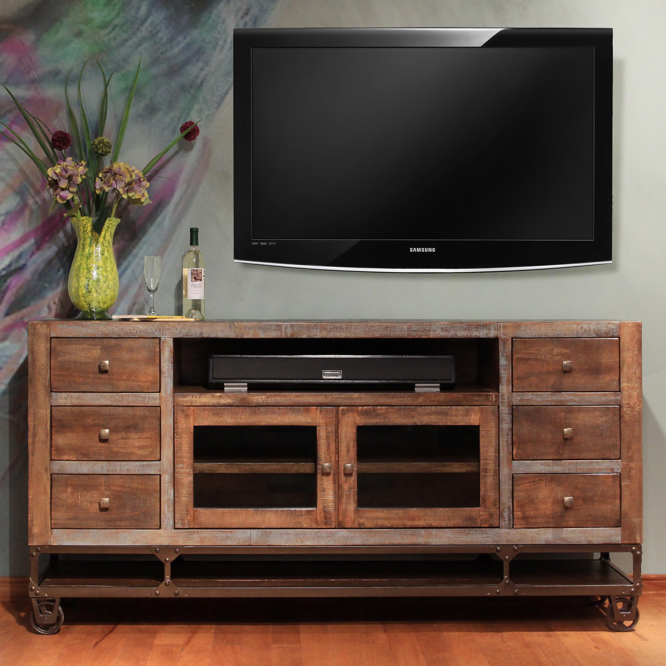 "Urban Gold 76"" Solid Wood TV Stand by International Furniture Direct at Zak's Home"