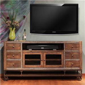 "International Furniture Direct Urban Gold 76"" Solid Wood TV Stand"