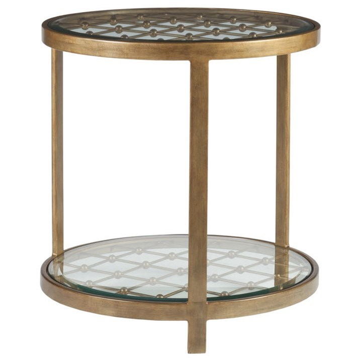 Metal Designs Royere Round End Table by Artistica at Alison Craig Home Furnishings