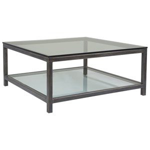 Per Se Square Cocktail with Glass Top and One Shelf