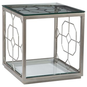 Honeycomb Square End Table with Glass Top