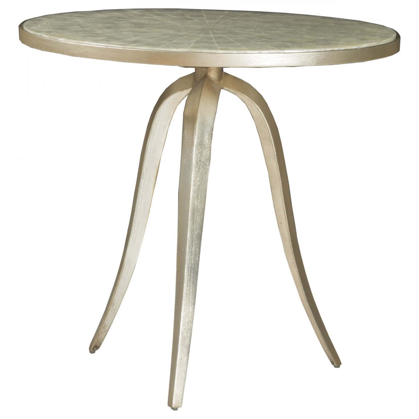 Capiz Round End Table by Artistica at Baer's Furniture