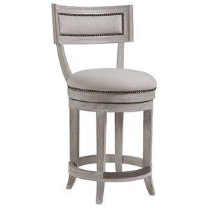 Apertif Upholstered Swivel Counter Stool with Nailheads