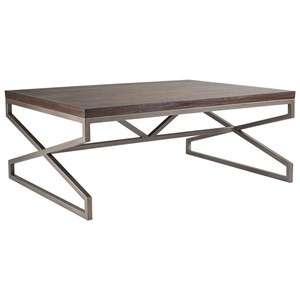 Edict Rectangular Cocktail Table with Metal Base