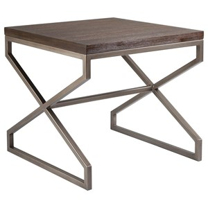 Edict Square End Table with Metal Base