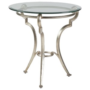 Transitional Round End Table with Glass Top