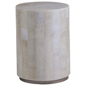 Transitional Round White Onyx Spot Table