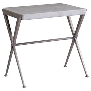Transitional Rectangular End Table with White Onyx Top
