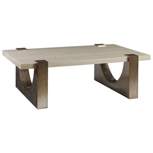 Contemporary Rectangular Cocktail Table with Stone Top