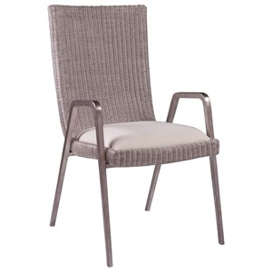 Transitional Woven Wicker Arm Chair with Upholstered Seat