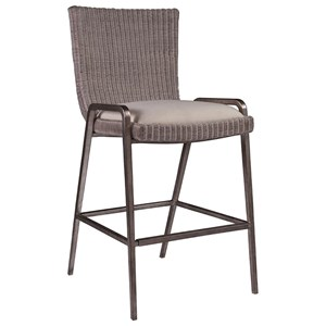 Transitional Woven Wicker Bar Stool with Upholstered Seat