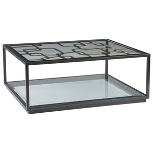 Contemporary Moxie Rectangular Cocktail Table with Metal Frame