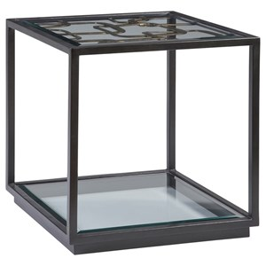 Contemporary Moxie Square End Table with Metal Frame