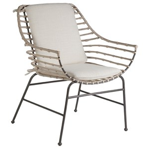 Raconteur Rattan and Iron Arm Chair with Tie-On Cushion