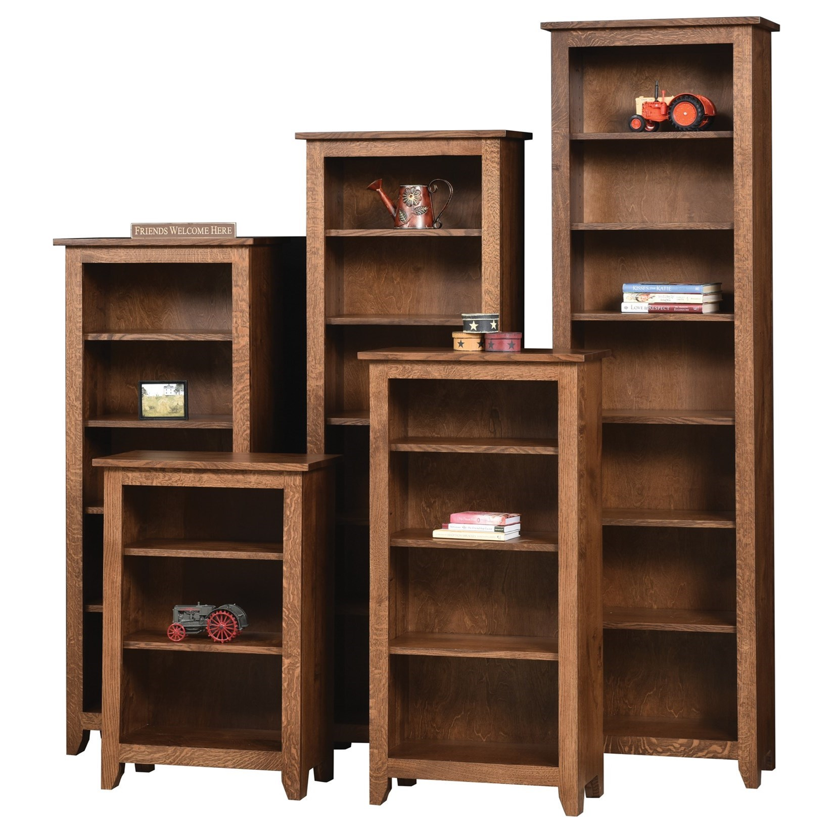 Modern Mission Customizable  Bookcase - Choose Your Size by Ashery Oak at Saugerties Furniture Mart