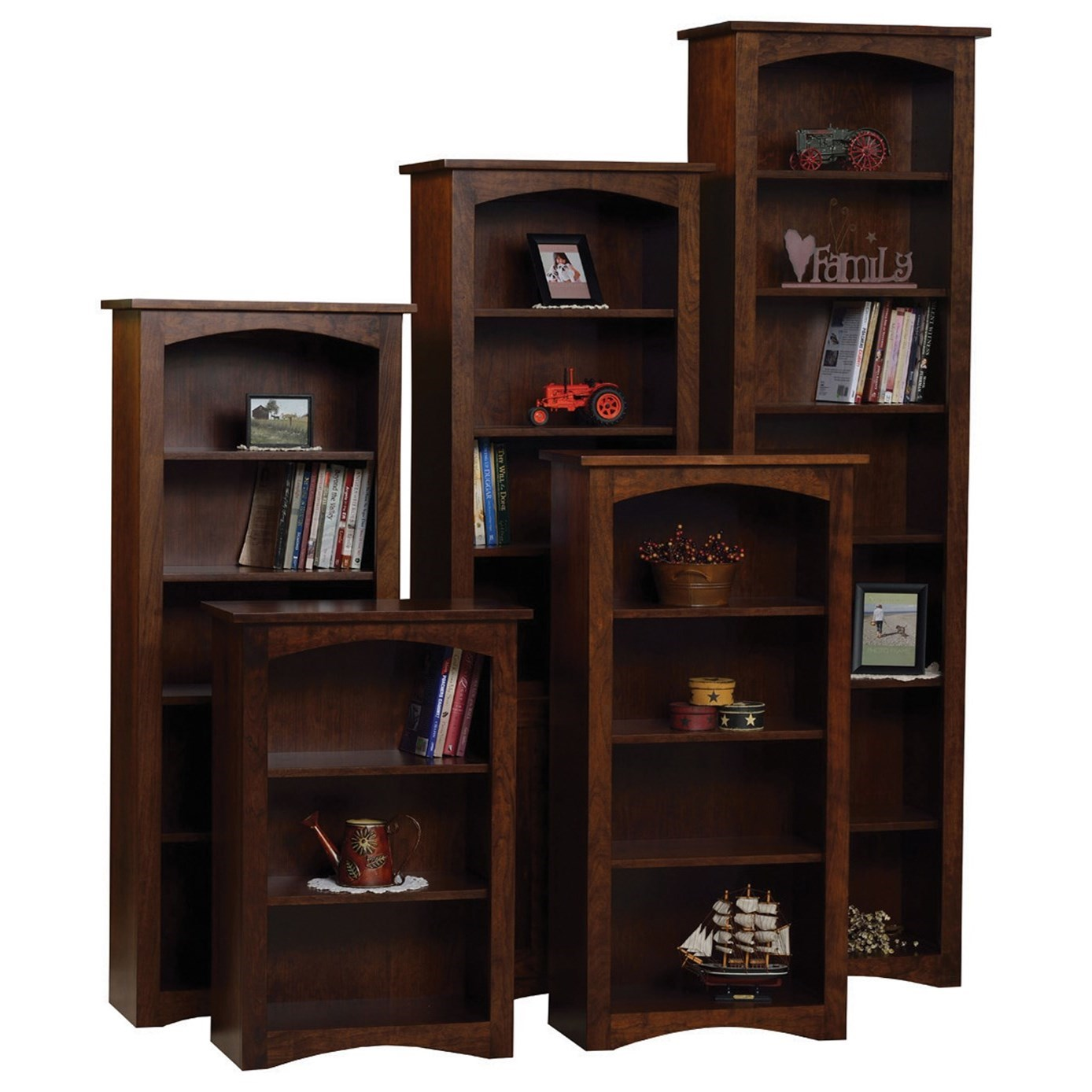 Shaker Customizable  Bookcase - Choose Your Size by Ashery Oak at Saugerties Furniture Mart