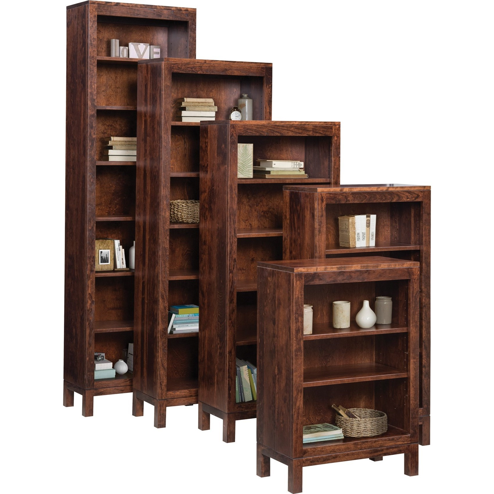 Vienna Customizable Open Bookcase by Ashery Oak at Saugerties Furniture Mart