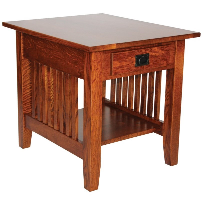 Prairie Mission Customizable Solid Wood End Table by Ashery Woodworking at Saugerties Furniture Mart